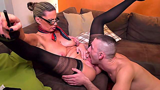 Energized mature swallows a lot after being fucked like a whore
