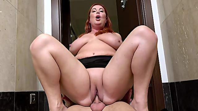 Chubby mature is set to devour this young dong like in the movies