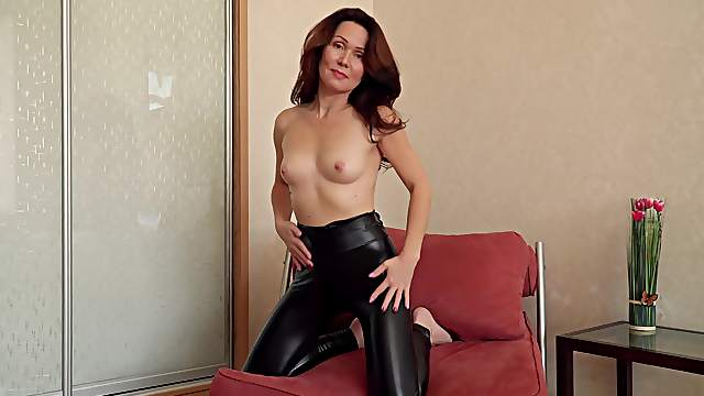 Watch mature Ptica get naked before she self-pleasures with style